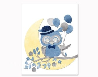 Blue owl nursery art, blue grey nursery decor, owl wall art for baby boy room decor, playroom decor nursery artwork kids room bedding decor