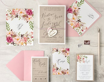 Boho Wedding Invitation Suite with Wooden Tag (20), Wedding Invitations Rustic with Heart, Rustic Wedding Invitations, Floral Invites