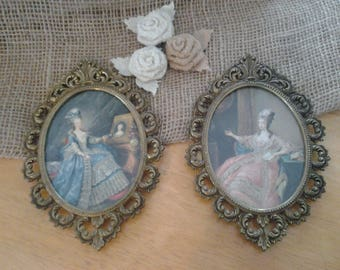 Vintage Brass Italian Picture Frames With Victorian Ladies