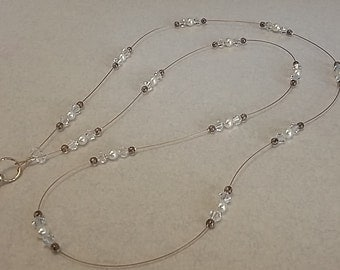 LANYARD NECKLACE Swarovski Pearl and Crystal and Czech Glass Lanyard Necklace in Gold or Silver Accents