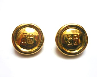 Vintage GIVENCHY earring clips, Gold colored, With monogram of the brand, Paris New-York