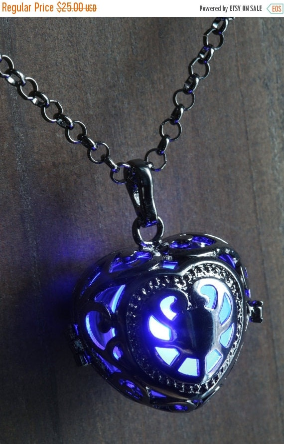 ON SALE TODAY - Blue Glowing Pendant Necklace heart Locket Black, Romantic Gift for Her, Fairy glow Jewelry