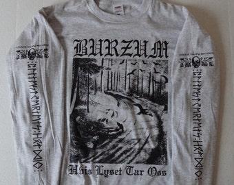 Longsleeve BURZUM Hvis Lyset Tar Oss // GREY // sizes S-XXL // Varg Vikernes Black Metal Count Grishnackh Filosofem Aske Misanthropy Records