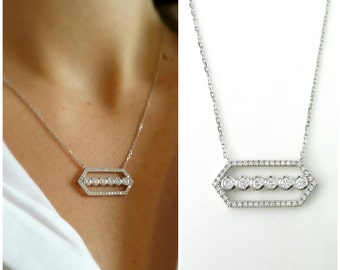 Silver necklace 925/000 seam oxides of zirconium - geometric Jewelry Silver 925 - Geometric set zirconium necklace 925 sterling silver