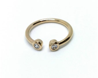 Gold-plated ring 750/000 loners oxides of zirconium, semi-open minimalist ring - minimalist ring gold plated 18 k