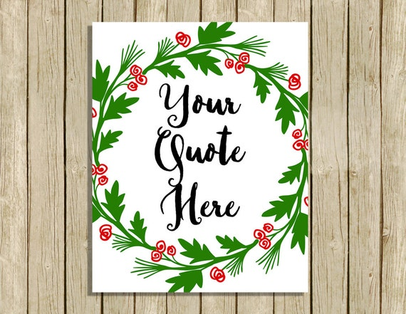 Christmas Grinch Quote 8 X 10 Digital Print Instant By: Custom Christmas Quote Wall Art Printable Personalised Holly