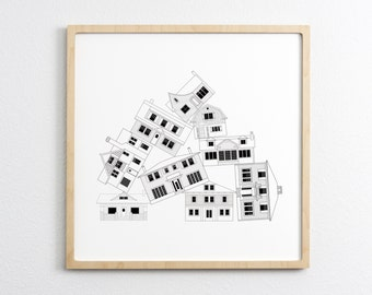 Classic Houses Drawing -  Architectural Drawings of Home - Art Print Wall Art Home Decor