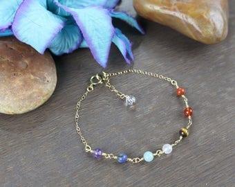 Gold Filled Chakra Bracelet-Mini Gemstone Chakra Bracelet-Genuine Gemstone Bracelet-Healing Bracelet-Energy Bracelet-Chakra Healing-Gift