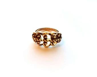 Vintage Avon Antiqued Gold Swirls Ring Adjustable Size