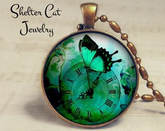 """Steampunk Green Butterfly Necklace - 1-1/4"""" Circle Pendant or Key Ring - Handmade Wearable Photo Art Jewelry - Bug, Clock, Floral, Gift"""
