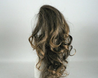 Womens Clip In Long Curly Brown Hairpiece