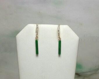 Green jade stick earrings