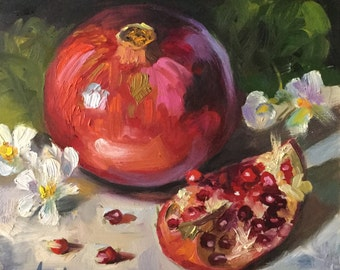 Beautiful Pomegranate, 8x8 Oil on Board