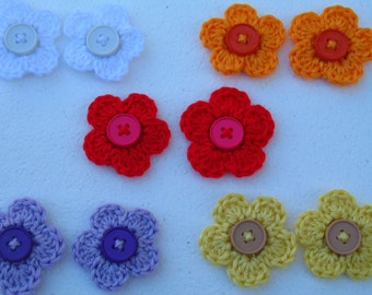 Set Of 2 Crochet Flower Hair Clip/ Flower Barrette/ Flower Brooch.