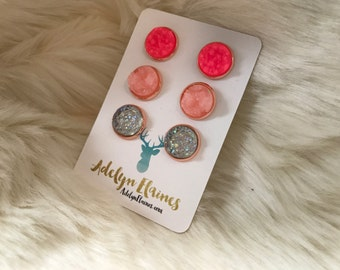 12 mm Hot Pink, Pink Melon & Funfetti Clear Druzy Earring Trio Set in Rose Gold