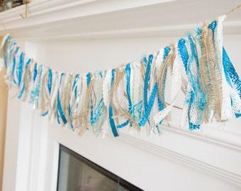 Blue Cream Ribbon Garland Swag Mantel Decor Holiday Decoration Christmas Wall Hanging Rag Twine Lace Turquoise