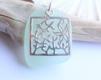 Sea Life Necklace - Sterling Silver Charm and Scottish Sea Glass Necklace - Sea Glass from Scotland