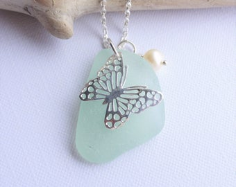 Scottish Sea Glass and Sterling Silver Butterfly Necklace - Sea Glass from Scotland