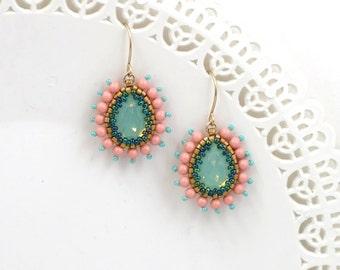 Crystal teardrop earrings, Wife jewelry, Turquoise and coral earring, Peach earring, Turquoise earrings dangle, Victorian jewelry, Wife gift