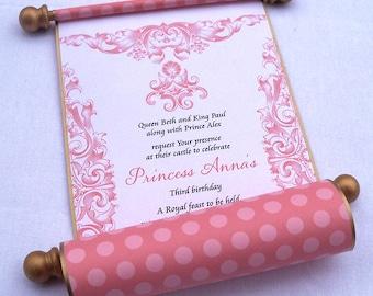 Pink and gold royal princess invitation, polka dots birthday invitation scroll, fairytale birthday invitation, set of 10
