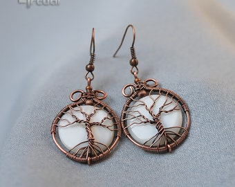 Tree of life earrings, wire wrapped jewelry, tree of life jewelry, dangle earrings, copper jewelry, drop earrings, wire wrap earrings, white