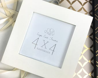 4x4 Picture Frame - Ivory - Frame for 4x4 Tiles, Instagram Prints or Needlework. Solid Wood Frame.