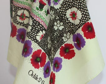 Vintage Floral Scarf Signed Odile St Germain Paris 26 1/2 Inches by 26 Inches