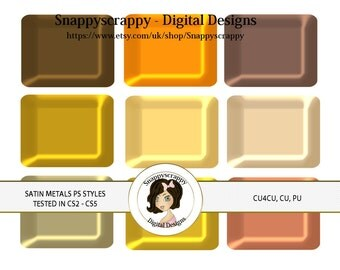 CU4CU, Photoshop Styles, PS Styles, Photoshop, Digital PS Styles, Commercial Use, Instant Download,  Satin Metal PS Styles