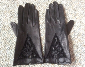Vintage Black Leather Gloves with Cutout Details - Brand New old Stock