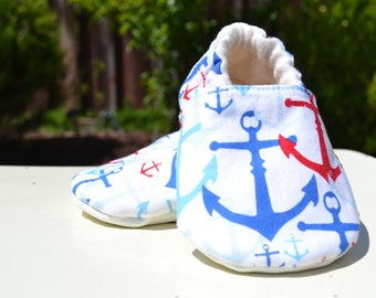 Anchor toddler shoes, baby shoes, non slip shoes, baby gift, booties, first birthday, nautical cute shoes, baby slippers