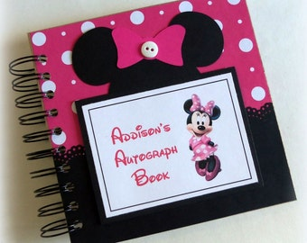 Don't Delay! Pink and White PERSONALIZED  Disney Autograph Book Scrapbook Travel Journal Vacation Photo Book