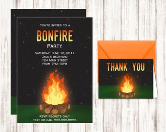 Printable Bonefire Party Invitation - Bonfire Birthday Invitation - Invitation Template - Editable PDF - Free Thank You Cards Included