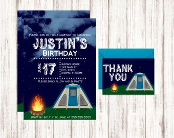 Camping Birthday Invitation - Boys Birthday invitation - Family Reunion Camp Out Celebration - Printable PDF Template - Instant Download