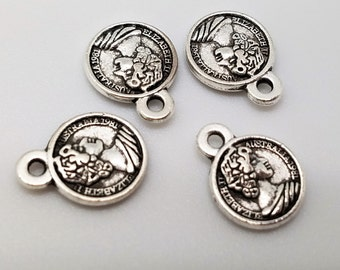 10 mm , Silver Coin Charms , Bag of 4