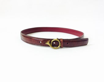 Vintage leather belt with brass belt buckle small leather belt brown leather belt vintage horn buckle xsmall leather belt size s waist belt