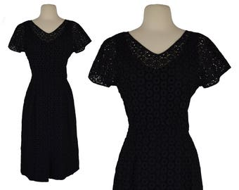 Vintage Dress, 1950s Dress, 50s Dress, Black Retro Dress, Wiggle Dress, Pinup Dress,  Retro Dress, Eyelet Dress, Rockabilly, Size Medium