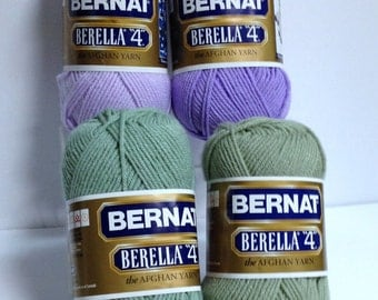 Bernat Yarn Berella The Afghan Yarn, 4-Skein Bundle, Worsted #4 Acrylic Yarn, 2 Lilacs, 2 Greens Destash Yarn for Knitting & Crocheting