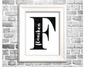 Custom Family Initial Print / Monochrome Home Decor / Personalized Last Name Sign / Digital Printable Initial