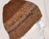 Warm Brown Winter Hat -- handspun, hand knit alpaca winter hat, toque, beanie, watch cap or ski hat in various tones of warm, brown, alpaca.
