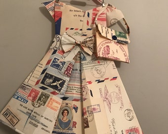 Vintage paper// air-mail paper dress and paper purse