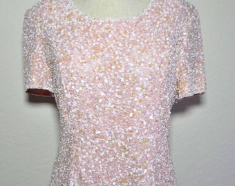 Medium blush pink silk top, pink sequin top, silk and sequin, pink sequin shirt, Pink Top M with front slit detailing, blush pink