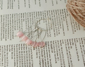 Heart stitch markers for knitting, pink glass hearts, non snag, pack of five