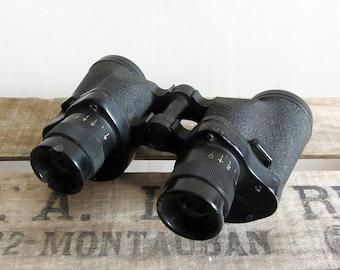 Vintage binoculars, World War II army gadget, military film / theatre prop, bird watching, gift for him, steampunk accessories, leather case