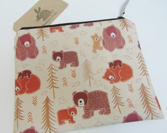 Handmade Makeup Bag, Grizzly Bear, Brown Bears, American Grizzly, Woodland Animal Zip Pouch