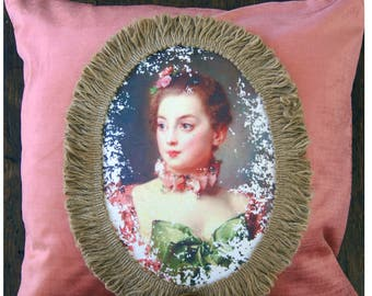 Vintage Inspired Pillow. 18th Century French Woman Pillow. Pink Velvet Pillow.