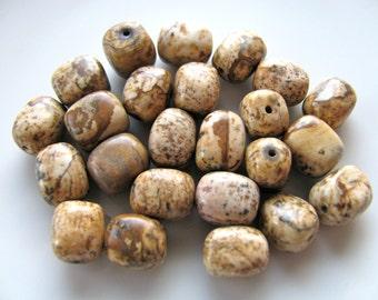 Jasper beads, Picture Jasper, nuggets, 24 beads, 8x10mm, tan, brown, Jewelry supply B-1183