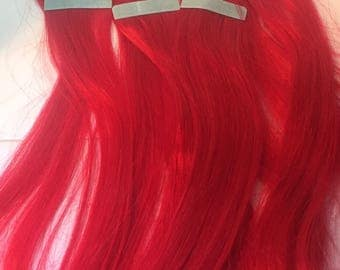 SALE! 10 Pieces Tape in Bright RED Remy Tape Human Hair Extensions 25 Grams 19 inches Real Red Streaks Brightest Red Highlights Straight