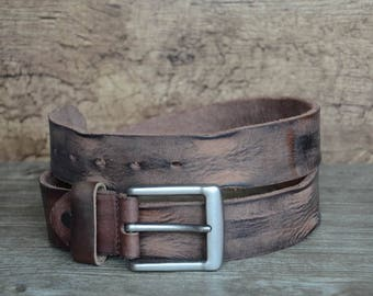 Mens Belt/Leather Belt/Distressed Belt/Brown Cowskin Belt/Full Grain