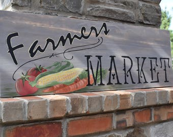 Farmers Market Sign | Farmhouse Kitchen Decor | Rustic |Wall Sign |Hand Painted | Kitchen Decor