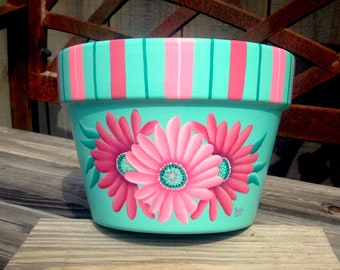 Gardening gift, flower pot, pink green decor, Mom present, painted pot, pink daisy, terra cotta planter, flower container, gerbera daisy